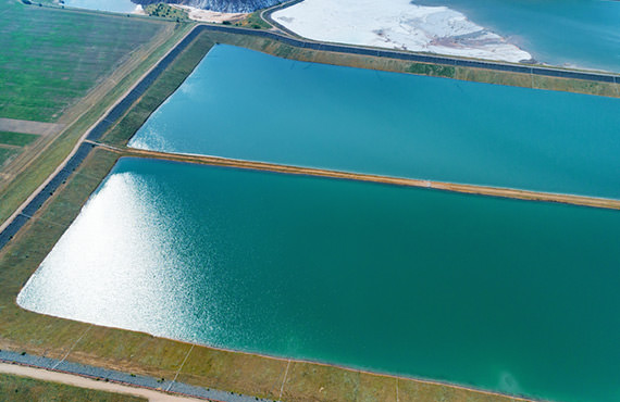 Evaporation ponds contain ore rich brine pumped from injection wells.